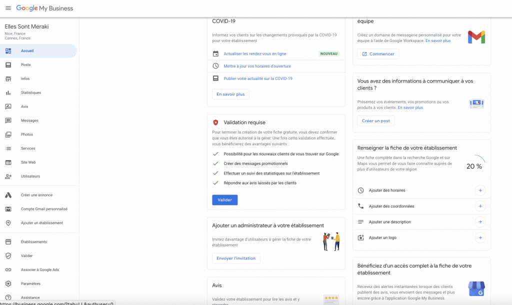 dashboard google my business