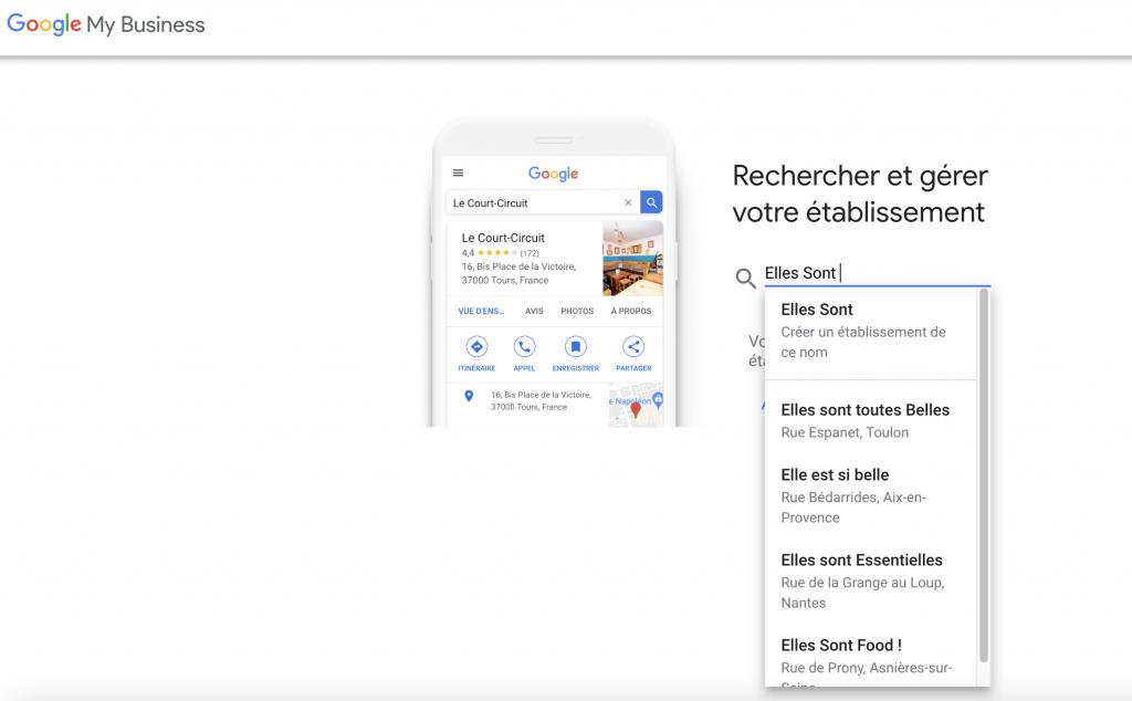 recherche établissement google my business